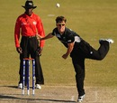 Theo van Woerkom in his bowling action, New Zealand v Pakistan, Group B, ICC Under-19 World Cup, Buderim, August 16, 2012
