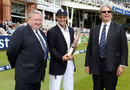 Andrew Strauss was presented with mementos of his 100th Test by David Collier and Giles Clarke , England v South Africa, 3rd Investec Test, Lord's, 1st day, August 16, 2012