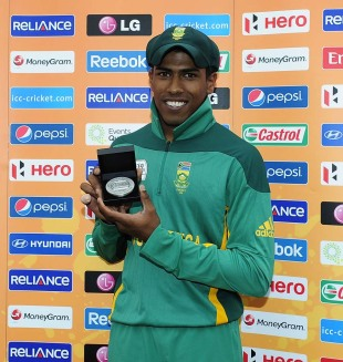 Prenelan Subrayen was adjudged the man of the match for his spell of 4 for 24, England v South Africa, quarter-final, ICC Under-19 World Cup 2012, Townsville, August 19, 2012