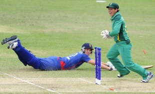 South Africa's Quinton de Kock celebrates after running out Craig Overton, England v South Africa, quarter-final, ICC Under-19 World Cup 2012, Townsville, August 19, 2012