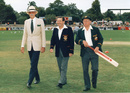Les Favell, flanked by Dr Donald Beard on the left and Don Bradman on the right, at his testimonial match, 1987
