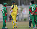 Anamul Haque and William Bosisto talk after Soumya Sarkar Mankaded Jimmy Peirson, Australia v Bangladesh, quarter-final, ICC Under-19 World Cup, Townsville, August 19, 2012
