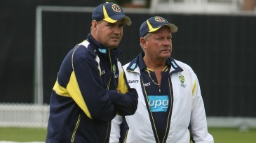 Mickey Arthur and Steve Rixon at Australia's training