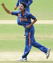 Ravikant Singh celebrates one of his three wickets, India v Pakistan, quarter-final, ICC Under-19 World Cup, Townsville, August 20, 2012
