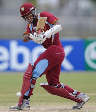 Kraigg Brathwaite followed his unbeaten 70 in the previous match with another half-century against New Zealand, New Zealand v West Indies, quarter-final, ICC Under-19 World Cup 2012, Townsville, August 20, 2012