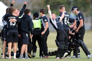 New Zealand players celebrate after winning a thriller against West Indies, New Zealand v West Indies, quarter-final, ICC Under-19 World Cup 2012, Townsville, August 20, 2012