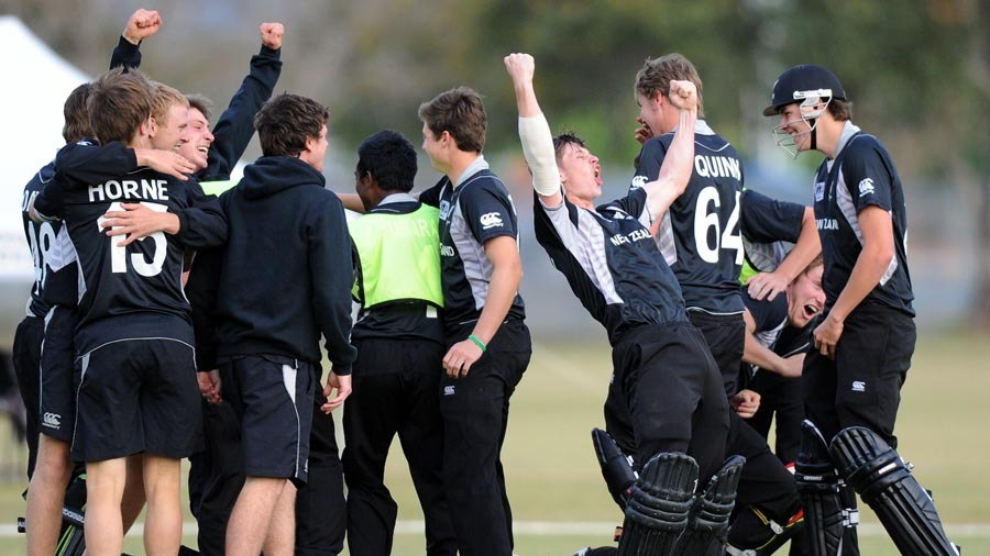 New Zealand players celebrate after winning a thriller against West Indies