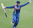 Harmeet Singh celebrates after scoring the winning runs, India v Pakistan, quarter-final, ICC Under-19 World Cup 2012, Townsville, August 20, 2012