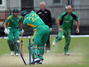 Trent Johnston bowls Ryan McLaren during his three-wicket haul, Ireland XI v South Africa A, 1st one-day match, Strabane, August 19, 2012