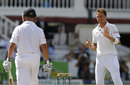 Dale Steyn gives Jonathan Trott a send-off after taking his wicket again