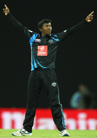 Akila Dananjaya celebrates one of his three wickets, Nagenahira Nagas v Wayamba United, SLPL, Pallekele, August 20, 2012