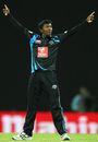 Akila Dananjaya celebrates one of his three wickets