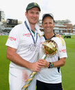 Graeme Smith and Gary Kirsten pose with the ICC mace