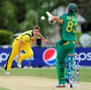 Mark Steketee, who picked up 3 for 35, sends down a short ball, Australia v South Africa, ICC Under-19 World Cup semi-final, Townsville, August 21, 2012