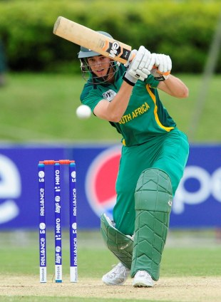 Chad Bowes pushes one through the off side, Australia v South Africa, ICC Under-19 World Cup semi-final, Townsville, August 21, 2012