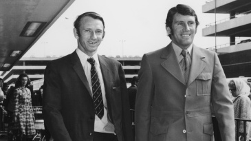 Doug Walters and Ian Chappell arrive at London airport from West Indies