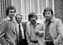 Greg Chappell, Doug Walters, Rod Marsh and Ian Chappell outside their Kensington hotel, World Cup, London, May 29, 1975