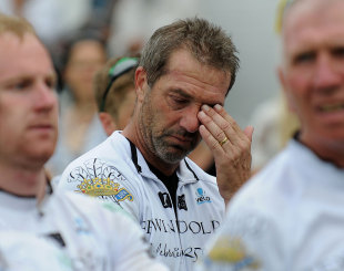 Matthew Maynard after completing the cycle ride, Surrey v Glamorgan, CB40, The Oval, August 21, 2012