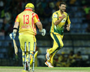 Dillon du Preez celebrates after getting Basnahira opener Daniel Smith bowled in the first over, Uthura v Basnahira, SLPL, Pallekele, August 21, 2012