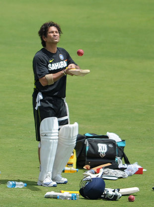 Sachin Tendulkar takes a break at India's practice session, Hyderabad, August 22, 2012