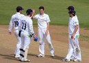 David Wainwright is congratulated by his team-mates on a dismissal, Northamptonshire v Derbyshire, County Championship, Division Two, Northampton, August 22, 2012