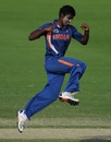 Baba Aparajith celebrates a wicket, India v New Zealand, ICC Under-19 World Cup, semi-final, Townsville, August 23, 2012