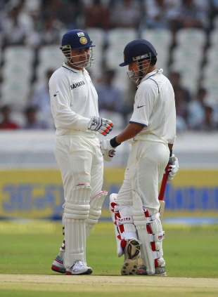 Virender Sehwag and Gautam Gambhir have a chat, India v New Zealand, 1st Test, Hyderabad, 1st day, August 23, 2012