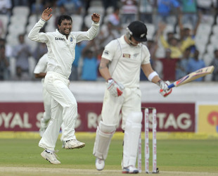 Pragyan Ojha reacts after dismissing Brendon McCullum, India v New Zealand, 1st Test, Hyderabad, 2nd day, August 24, 2012