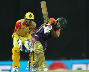 Ruhuna's Nasir Jamshed hits through the leg side, Basnahira v Ruhuna, SLPL, Colombo, August 25, 2012