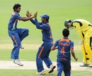 Baba Aparajith celebrates the dismissal of Kurtis Patterson, Australia v India, ICC U-19 World Cup, final, Townsville
