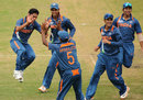 Ravikant Singh is ecstatic after claiming a wicket, Australia v India, ICC U-19 World Cup, final, Townsville, August 26, 2012