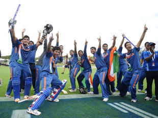 India Under-19s celebrate their World Cup triumph over Australia in Townsville