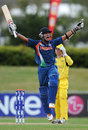 Smit Patel roars after the winning runs are hit, Australia v India, ICC U-19 World Cup, final, Townsville, August 26, 2012
