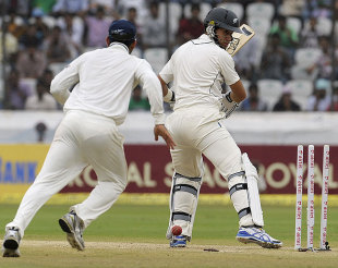 Ross Taylor is bowled by R Ashwin, India v New Zealand, 1st Test, Hyderabad, 4th day, August 26, 2012