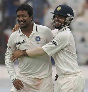 Pragyan Ojha and Ajinkya Rahane celebrate a wicket, India v New Zealand, 1st Test, Hyderabad, 4th day, August 26, 2012