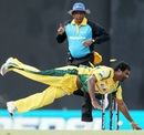 Muttiah Muralitharan dives to deflect the ball on to the stumps to run out Angelo Mathews, Uthura v Nagenahira, SLPL, Colombo, August 26, 2012