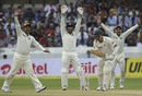 Indian fielders appeal for lbw against Chris Martin, India v New Zealand, 1st Test, Hyderabad, 4th day, August 26, 2012