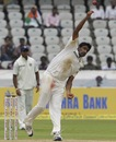R Ashwin bowls during the second innings, India v New Zealand, 1st Test, Hyderabad, 4th day, August 26, 2012