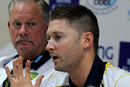 Michael Clarke speaks to the media as Steve Rixon looks on, Sharjah, August 26, 2012