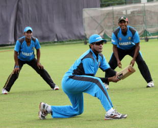 Shakib Al Hasan during a slip-catching session at training, Mirpur, August 27, 2012