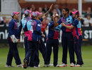 Gurjit Sandhu is congratulated by his team-mates, Middlesex v Essex, CB40 Group A, Lord's, August 27, 2012