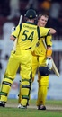 Daniel Christian and George Bailey celebrate after securing the win, Pakistan v Australia, 1st ODI, Sharjah, August 28, 2012