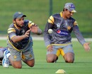Shahid Afridi takes a catch at a practice session