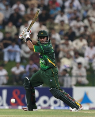 Nasir Jamshed drives one through the off side, Pakistan v Australia, 2nd ODI, Abu Dhabi, August 31, 2012