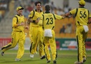 Mitchell Johnson claims the wicket of Nasir Jamshed, Pakistan v Australia, 2nd ODI, Abu Dhabi, August 31, 2012