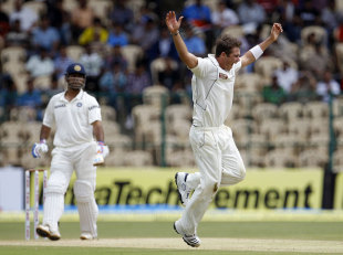 Tim Southee is ecstatic after dismissing MS Dhoni, India v New Zealand, 2nd Test, Bangalore, 3rd day, September 2, 2012