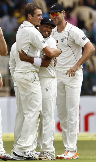 Tim Southee finished with a seven-for, India v New Zealand, 2nd Test, Bangalore, 3rd day, September 2, 2012
