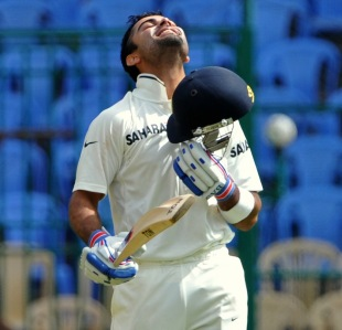 Virat Kohli celebrates his second Test hundred, India v New Zealand, 2nd Test, Bangalore, 3rd day, September 2, 2012