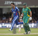 Jade Dernbach made the breakthrough with the wicket of Graeme Smith