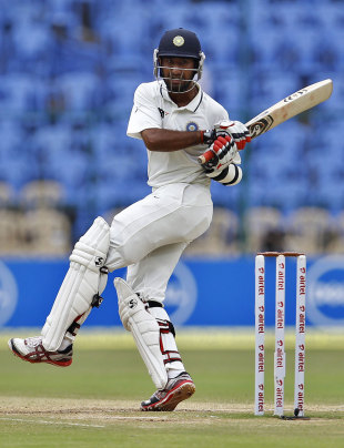 Cheteshwar Pujara guided India briefly with 48, India v New Zealand, 2nd Test, Bangalore, 4th day, September 3, 2012